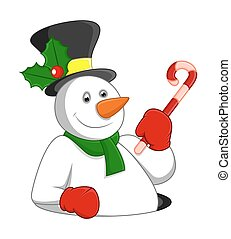 Happy Snowman with Candy Cane