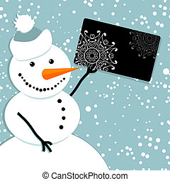 Happy snowman with credit card, chr