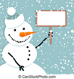Happy snowman with framework. Place for your text here.