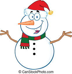 Happy Snowman With Open Arms