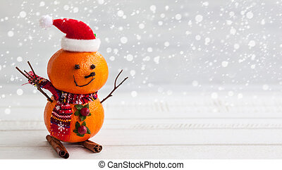 Happy snowmen - Happy snowman made out of tangerines, clove ...