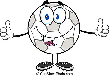 Happy Soccer Ball Cartoon Character Giving A Double Thumbs...