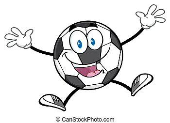 Happy Soccer Ball Jumping - Happy Soccer Ball Cartoon Mascot...