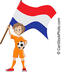 Happy soccer fan holds Holland flag. Vector cartoon