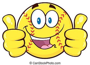 Happy Softball Character - Happy Softball Cartoon Character...