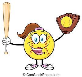 Happy Softball Girl Holding A Bat