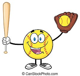 Happy Softball Player Character