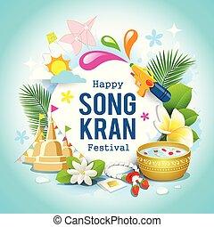 Happy Songkran festival Thailand beautiful design background