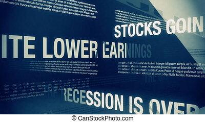 Happy Sounding Economic Headlines - Looping animation of...