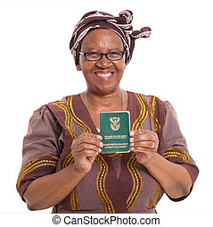 south african senior woman with ID book