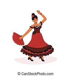 Happy Spanish girl in red traditional dress passionately dancing flamenco with hand fan.