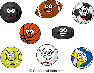 Cartoon illustration of a set of happy sporting balls and equipment with tennis, soccer, rugby, football, cricket, volleyball and an ice hockey puck