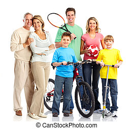 Happy sportive family. Father, mother and children. . Over...