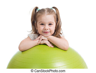 Happy sportive kid playing with fitness ball isolated on white background