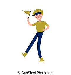 Happy sports fan supporting his team with a green flag cartoon character vector Illustration