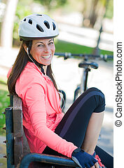 Sporty Woman Listening To Music - Happy Sporty Woman...