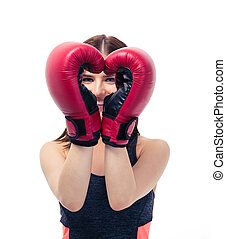 Happy sporty woman with boxing gloves
