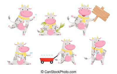 Happy Spotted Cow Cartoon Character Collection, Funny Humanized Farm Animal in Various Action Poses Vector Illustration