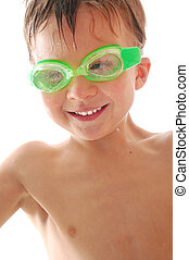 happy spoty child with swimming goggles