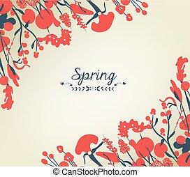 Happy spring flower background vintage