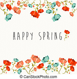 Happy Spring flower composition - Springtime greeting card...