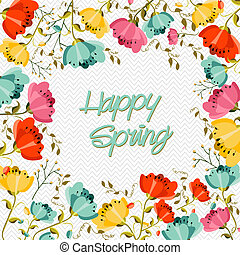 Happy Spring flower greeting card