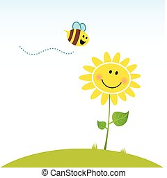 Happy sunflower and cute little bee. Vector Illustration.