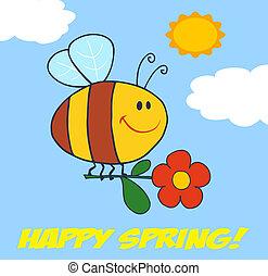 Happy Spring Greeting Cartoon Character