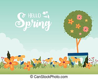 happy spring potted tree flowers garden floral grass vector ...