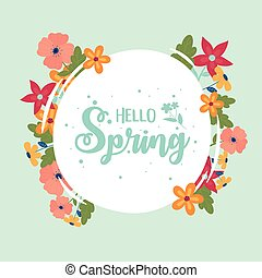 happy spring round lettering flowers border decoration
