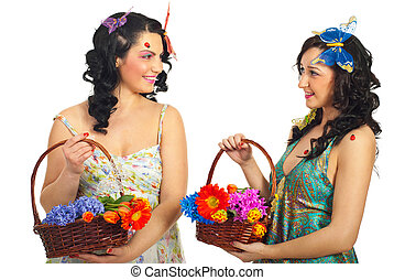 Happy spring women having conversation