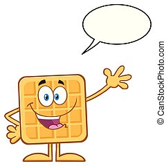 Happy Square Waffle Cartoon Mascot Character Waving