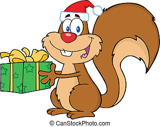 Happy Squirrel Holding A Gift