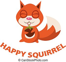 Happy squirrel with walnut sits. Vector illustration