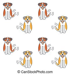 Happy St. Bernard dog seamless pattern. - Happy big dog wags...