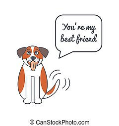 Happy St. Bernard dog with speech bubble and saying - Happy...