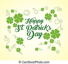 happy st patrick day with clover decoration