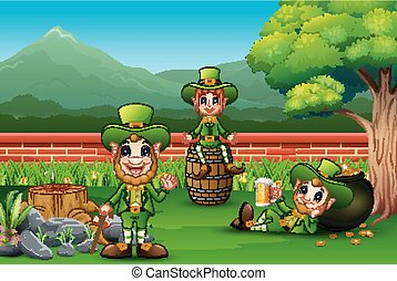 Happy St Patrick leprechaun celebrate with a beer