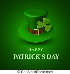 Happy St. Patrick's Day banner. Greeting card with green leprechaun hat with a strap and clover leaf on green background. Irish traditional national holiday