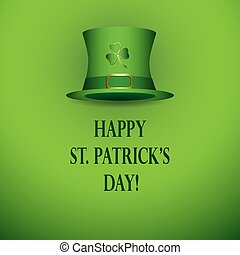 happy st patricks day - bright green vector background with green hat