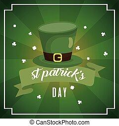 happy st patricks day card with leprechaun hat