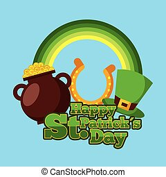 happy st patricks day cauldron gold coins horseshoe and hat