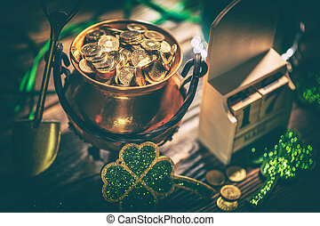 Happy St Patricks Day concept with pot of gold