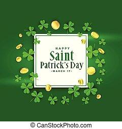 happy st patricks day green banner design