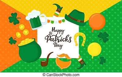 Happy St. Patrick's Day. Greeting card. Festive decor.