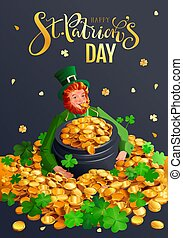 Happy St. Patrick's day greeting card. Red gnome and pot of gold