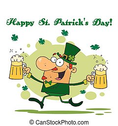 Leprechaun Running With Two Beers