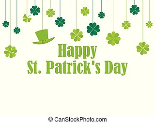 Happy St. Patrick's Day. Hanging clover and leprechaun hat. Festive banner, greeting card. Typography design. Vector illustration