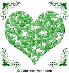 Happy St Patricks Day Heart of Shamrock Leaves