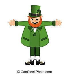 Happy St Patricks Day Leprechaun Arm Stretched